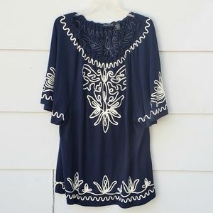 Maggie Barnes Embroidered Boho Navy / White Top